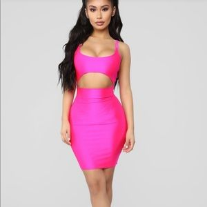 Cut To The Chase Mini Dress Neon Pink